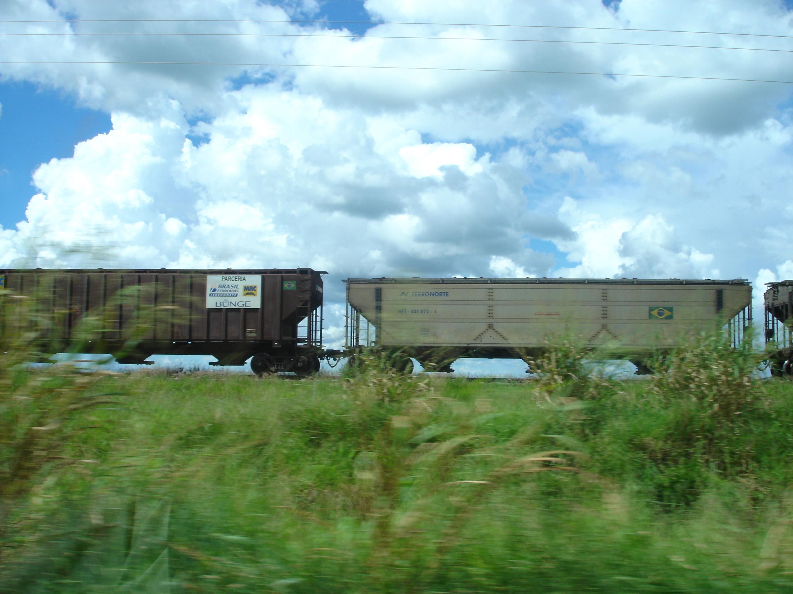 Rail cars on Ferronorte Railroad in Mato Grosso